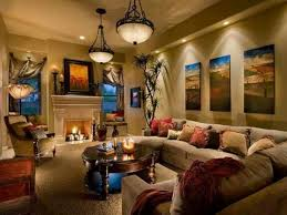 Elegant Pendant Lamps For Cozy Family Room Ideas With Beige Wall Color And  Stylish Track Lighting
