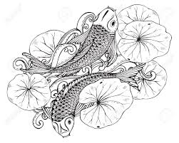 Hand Drawn Vector Illustration Of Two Koi Fishes Japanese Carp With Lotus Leaves Symbol Of Love Friendship And Prosperity Black And White Image
