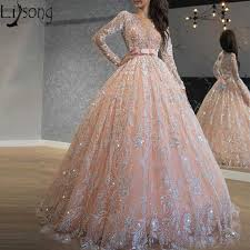 Блестящее Розовое Кружевное бальное платье с блестками, бальное платье для  выпускного вечера, с круглым вырезом и длинным рукавом, 16, длинное  вечернее платье|Платья на выпускной| | АлиЭкспресс