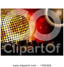 concert speakers clipart. 3d gold disco ball music speaker and silhouetted concert fan hands over red flares by elaineitalia speakers clipart