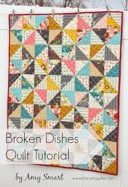 Half Square Triangle baby quilt pattern & Broken Dishes Baby Quilt Tutorial Adamdwight.com