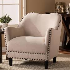 beige accent chair. Plain Beige Baxton Studio Seibert Beige Fabric Upholstered Accent Chair With O