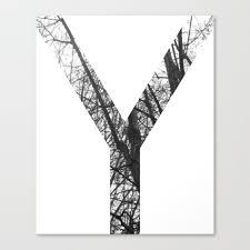 Minimal Letter Y Print With Photography Background Canvas Print By Aelissedesign