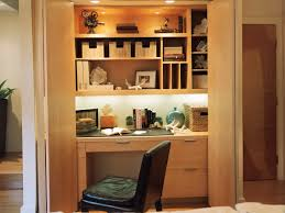 home office decor brown. Delightful Small Office Decor Ideas With Wooden Desk And Floating Shelves Also Four Recessed Lamp Well Home Brown