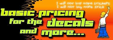 Vinyl Decal Basic Pricing Chart