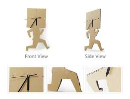 running home office. running human paper square clock cardboard craft wall decoration home office ornament t