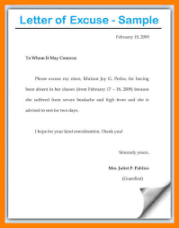 Absence Letter For School Sample Excuse Letter For Absence In School Fancyresume Sample Excuse Letter