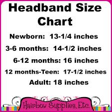 Headband Sizes Chart For Fold Over Elastic Headbands And Diy