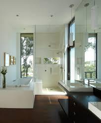 Hardwood Floor Bathroom Dark Hardwood Floors Bathroom Contemporary With Dark Wood Vanity