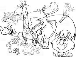Small Picture Cartoon Safari Animals Coloring Page stock vector art 802476820