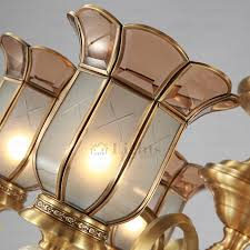 antique 6 light glass shade solid brass chandeliers for bedroom
