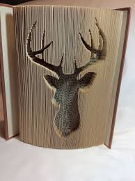 deer head cut and fold book by rebecca s book art