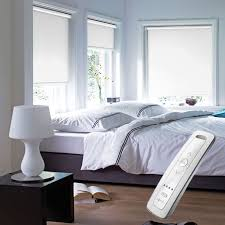 white blackout electric motorised remote control roller blinds