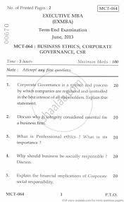 business ethics corporate governance csr management business ethics corporate governance csr 2013 management executive mba university exam