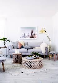 Pretty Grey Modern And Slightly Boho Casual Living Room