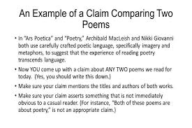 layout and examples of comparecontrast informativeexplanatory write compare contrast essay an example of a claim comparing two poems