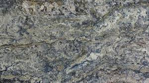 azurite premium is a beautiful polished granite from spain this dynamic stone has a cream grey and blue patterning that makes it a colorful statement in
