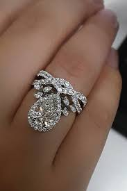 unique enement rings white gold pear diamond pave band