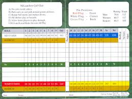 Golf Score Card Template Mcleansboro Golf Club Scorecard