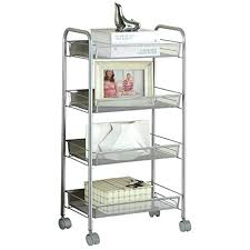 storage cart on wheels silver kitchen 4 tier utility steel for outdoor canadian tire storage cart