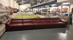 ex display elixir cinema red leather very large electric recliner 5 seater sofa