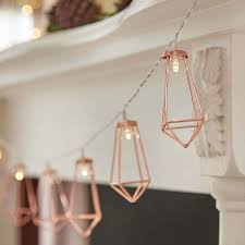 battery rose gold metal lantern fairy lights 10 warm white leds