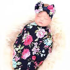 Swaddling And Receiving Blankets Inspiration Amazon Newborn Receiving Blanket Headband Set Flower Print Baby