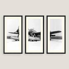 set of three wall art beautiful framed vintage plane sketch wall art set of three