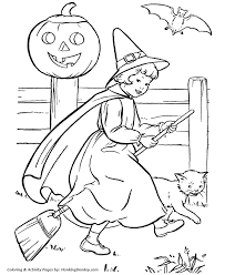 Halloween Witch Coloring Pages Halloween Witch Girl Riding Her