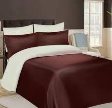 satin bedding chocolate and cream