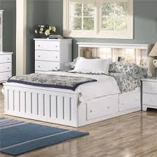 Elegant White Painted Wooden Queen Size Platform Bed With Display
