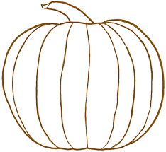 pumpkin drawing. finished line drawing of a pumpkin (for halloween or thanksgiving) b