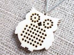 wooden owl cross stitch blank stainless steel pendant