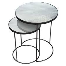 set of 2 round side tables by notre monde nesting high bronze charcoal clear