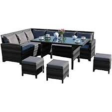 abreo 9 seater rattan corner garden dining set furniture includes protective cover black brown dark mixed grey dark mixed grey with dark cushions