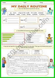 Exercise Daily Routine Chart Daily Routine Part 3 Vocabulary And Present Simple