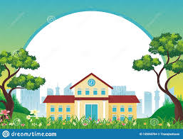 Cartoon Design School With Nature Landscape Background With Flat Cartoon
