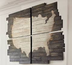 multi colored recycled wood usa map wall art