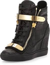 black leather wedge sneakers giuseppe zanotti croc embossed plated wedge sneaker