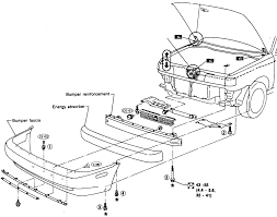 7 front bumper assembly exploded view 1991 96 sentra sedan