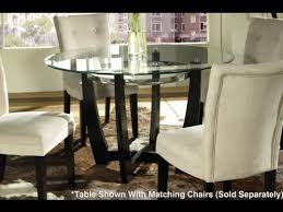 steve silver matinee 48 inch round glass dining table in dark cherry finish