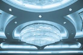 crystal chandelier in a banquet hall stock image image of light glamour