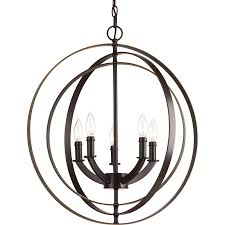 progress lighting equinox 22 in 5 light antique bronze globe chandelier