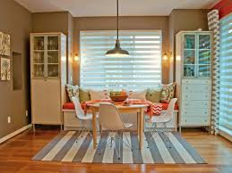 eclectic dining room with gray and white striped rug on cozy dining rooms