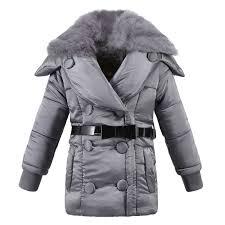 Girls <b>Winter</b> Coat <b>Hooded Fur Collar</b> Children Jackets Cotton Parka ...