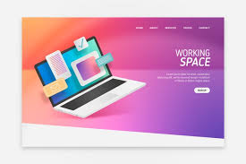 Landing Page With Laptop Design For Template Vector Free