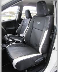 toyota rav4 seat covers black white leatherette 4th generations rh catcoversdirect com rav4 seat covers leather