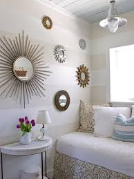 small neutral transitional bedroom with mirrors