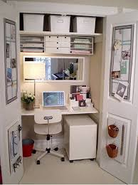 home office in a closet. closet workspace desk like the mirror and how cozy actual deskspace feels with home office in a