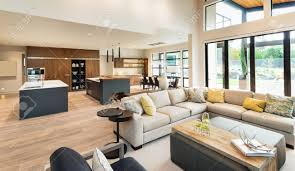 Living Room And Kitchen Beautiful Living Room Interior In New Luxury Home With View Of